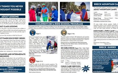 Breckenridge Ski and Ride School brochure Page 2 shot by Joseph Large